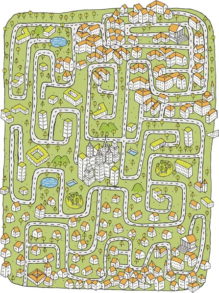 Illustration of a cityscape maze.