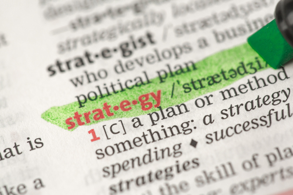 A dictionary with the word strategy highlighted.